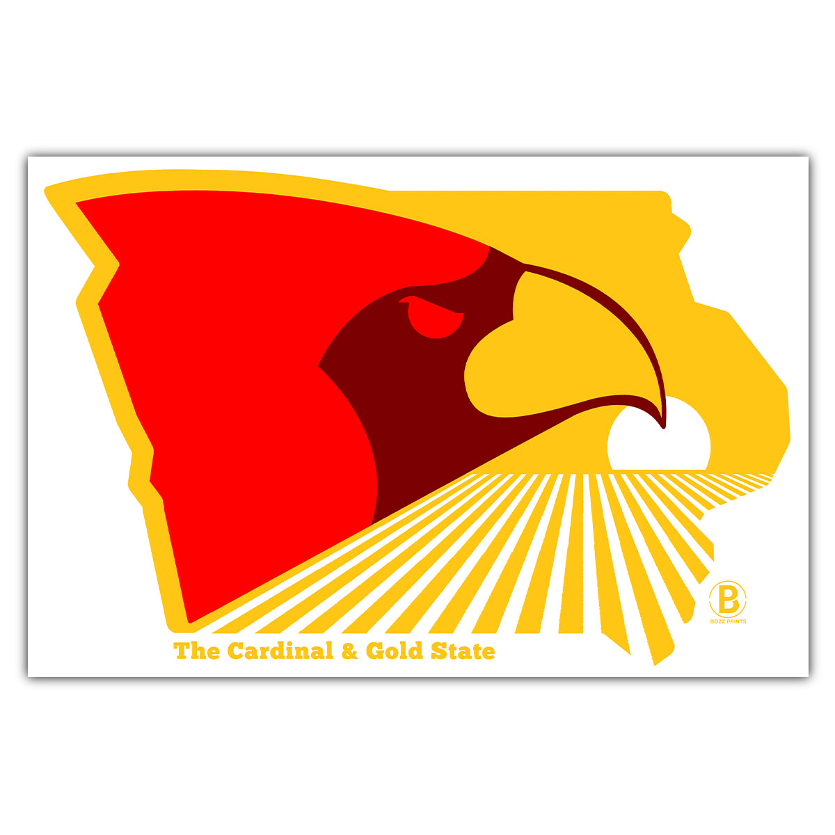 The Cardinal and Gold State Postcard
