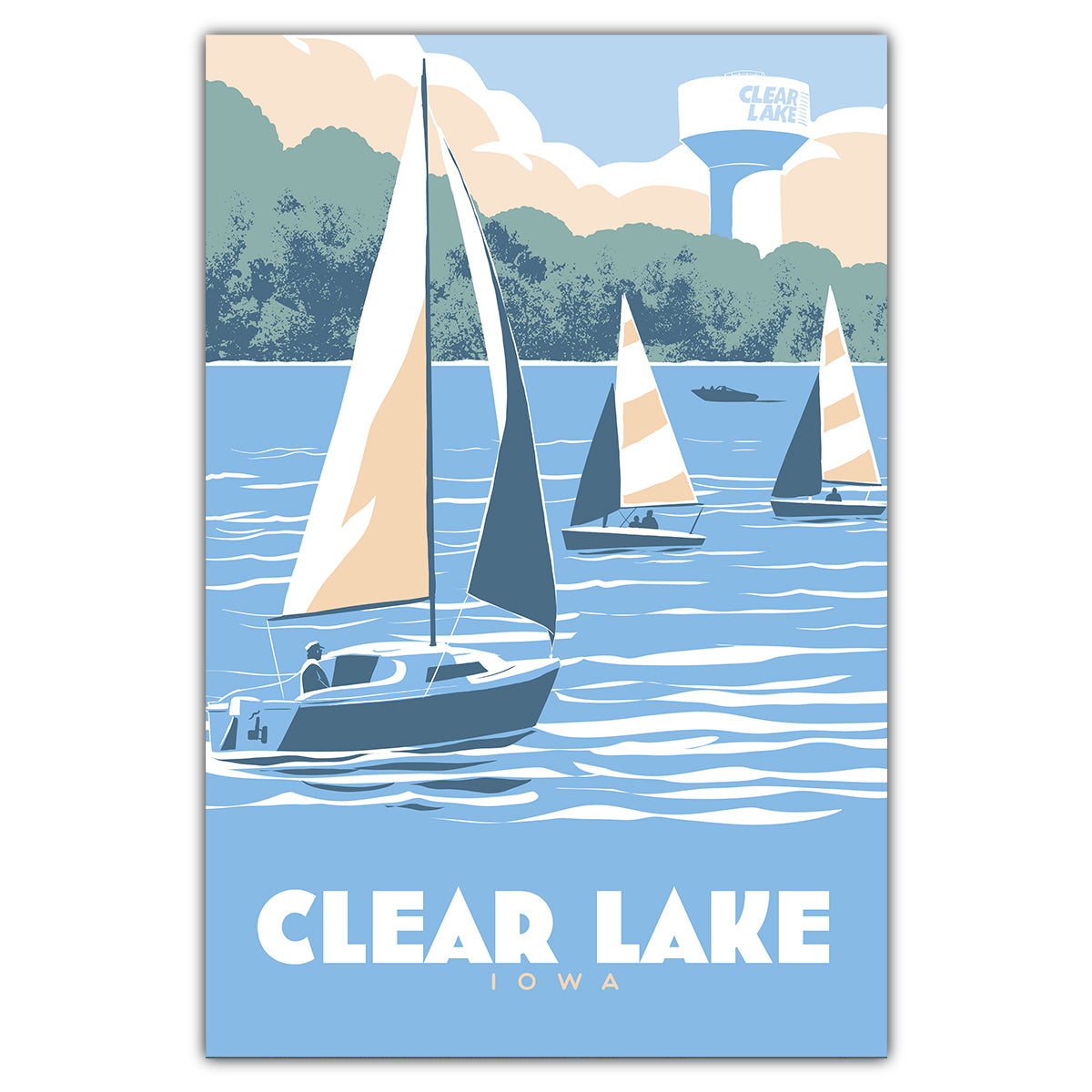 Clear Lake Sailing Postcard
