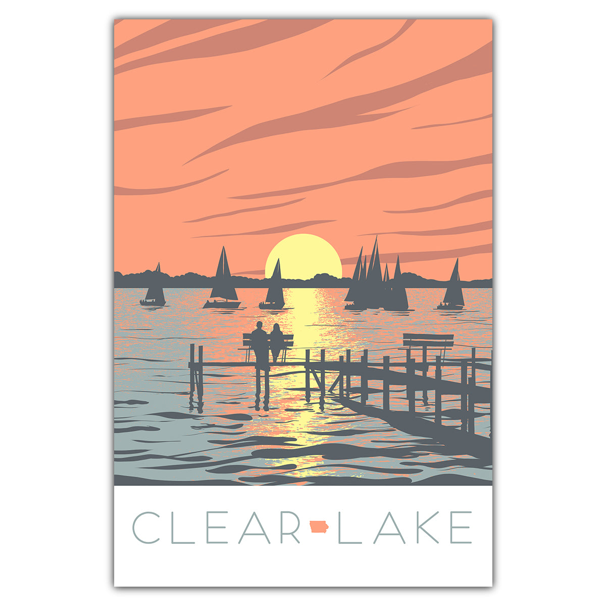 Clear Lake Sunset Postcard