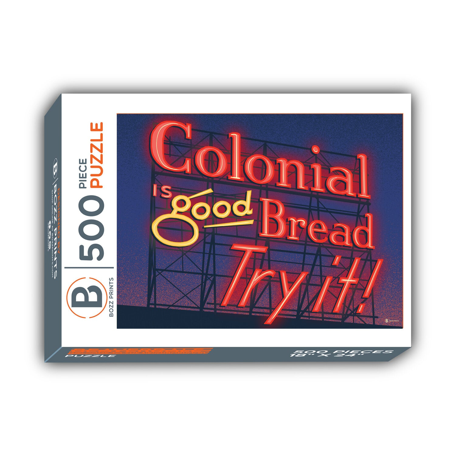 Des Moines Colonial Sign at Night Jigsaw Puzzle