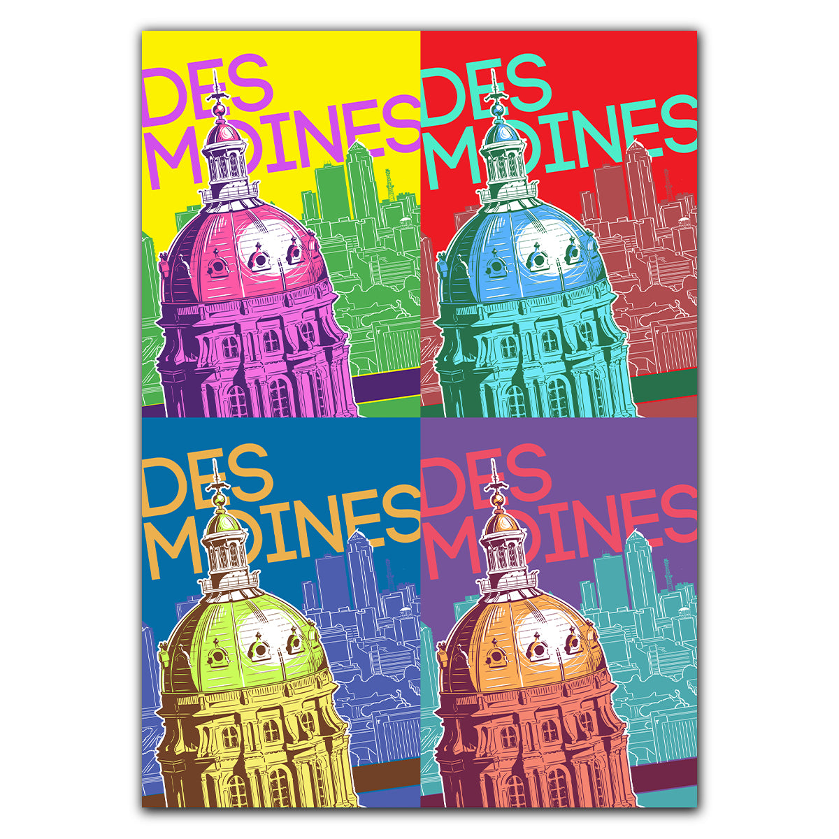 Des Moines Capitol Pop Art Greeting Card