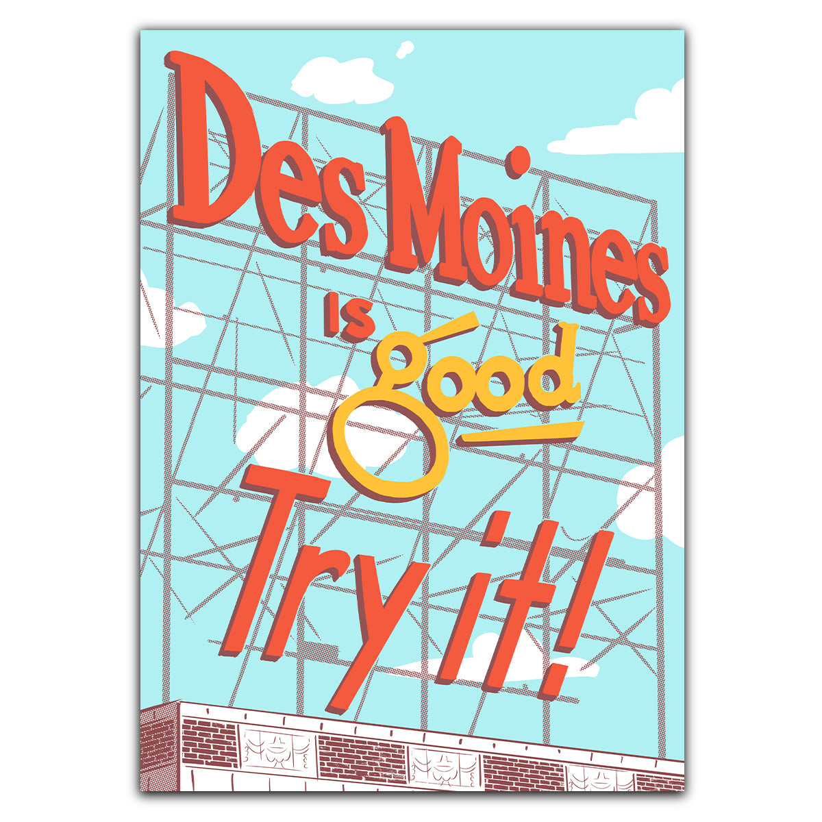 Des Moines Colonial Sign Greeting Card