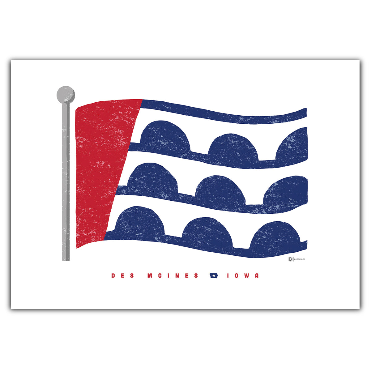 Des Moines Flag Greeting Card