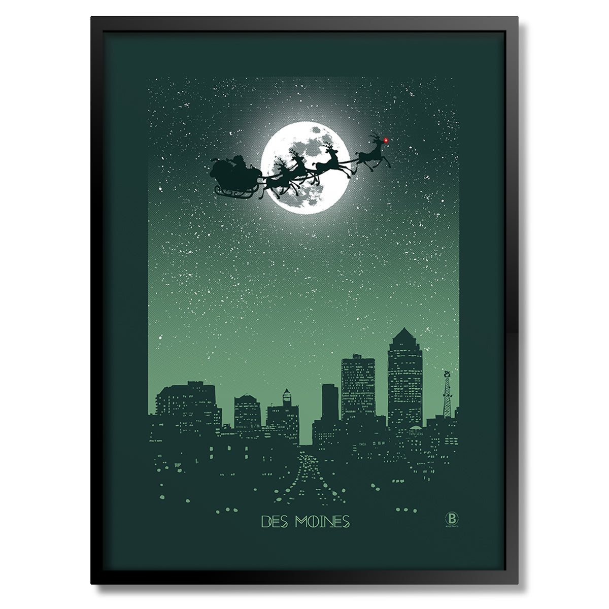 Des Moines Holiday Moon Print