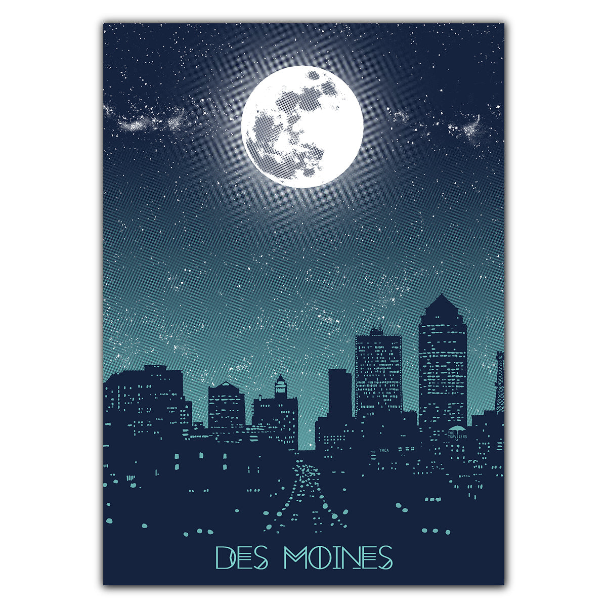 Des Moines Moon Greeting Card