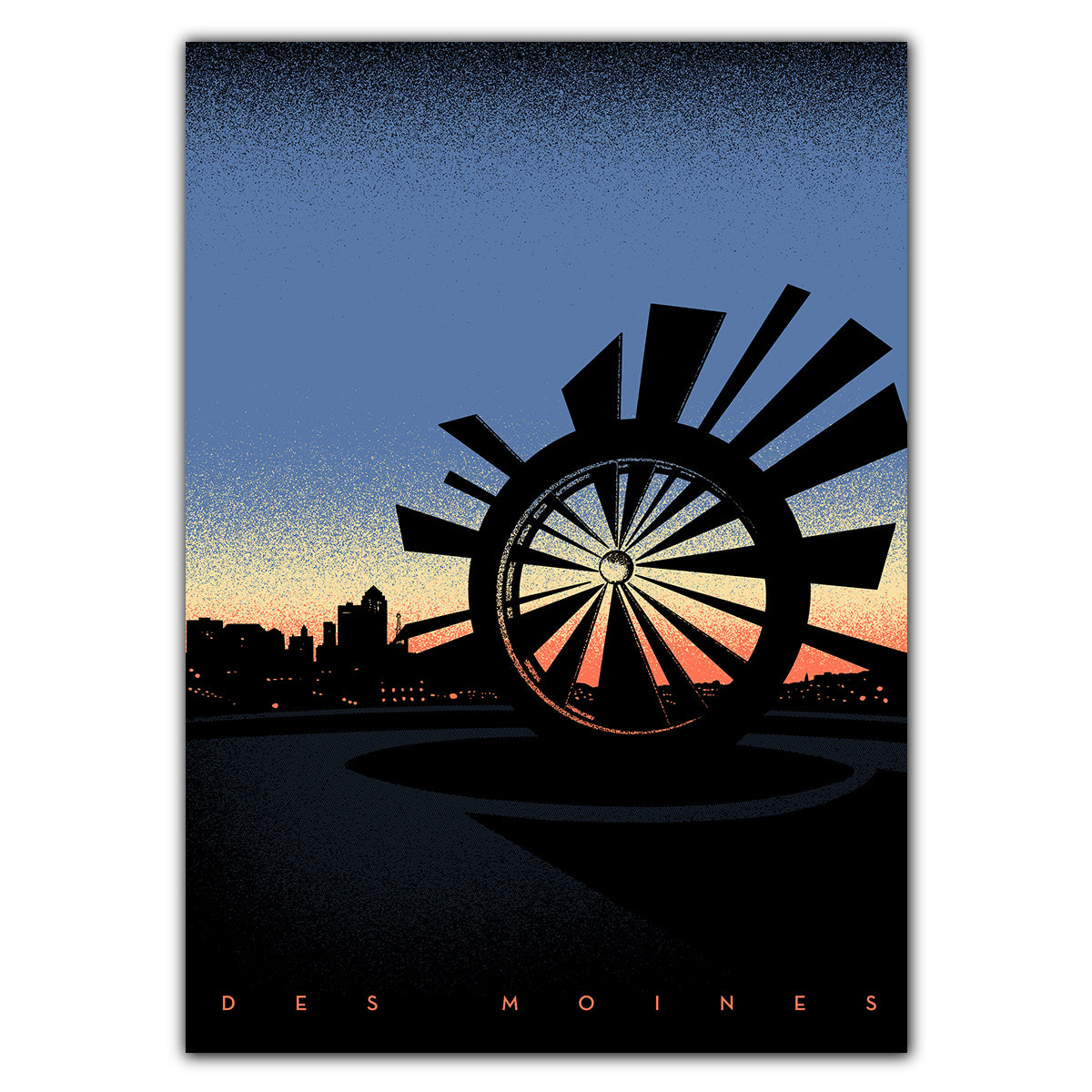 Des Moines Shattering Skyline Greeting Card