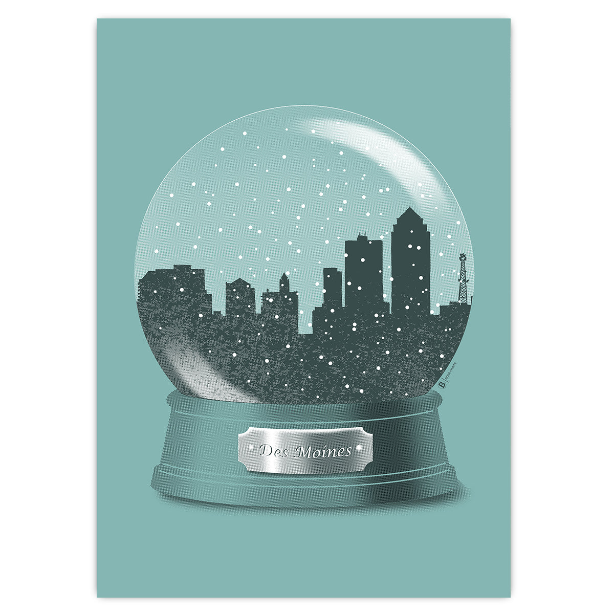 Des Moines Snow Globe Greeting Card