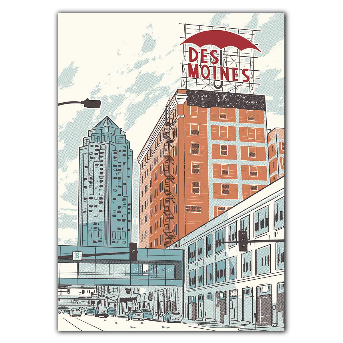 Des Moines Umbrella Greeting Card