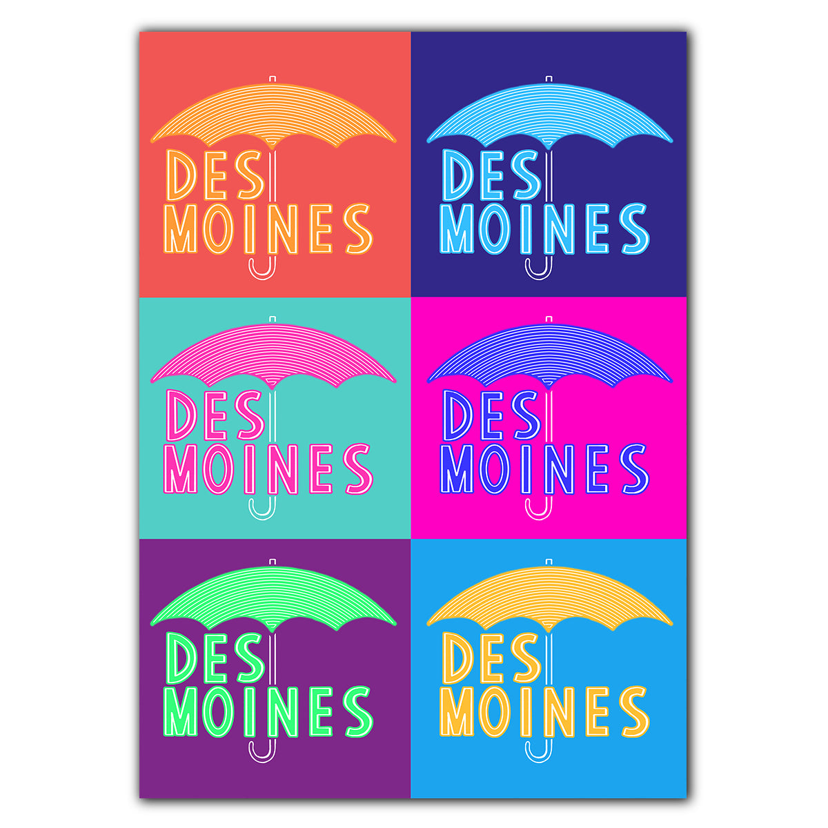 Des Moines Umbrella Pop Art Greeting Card