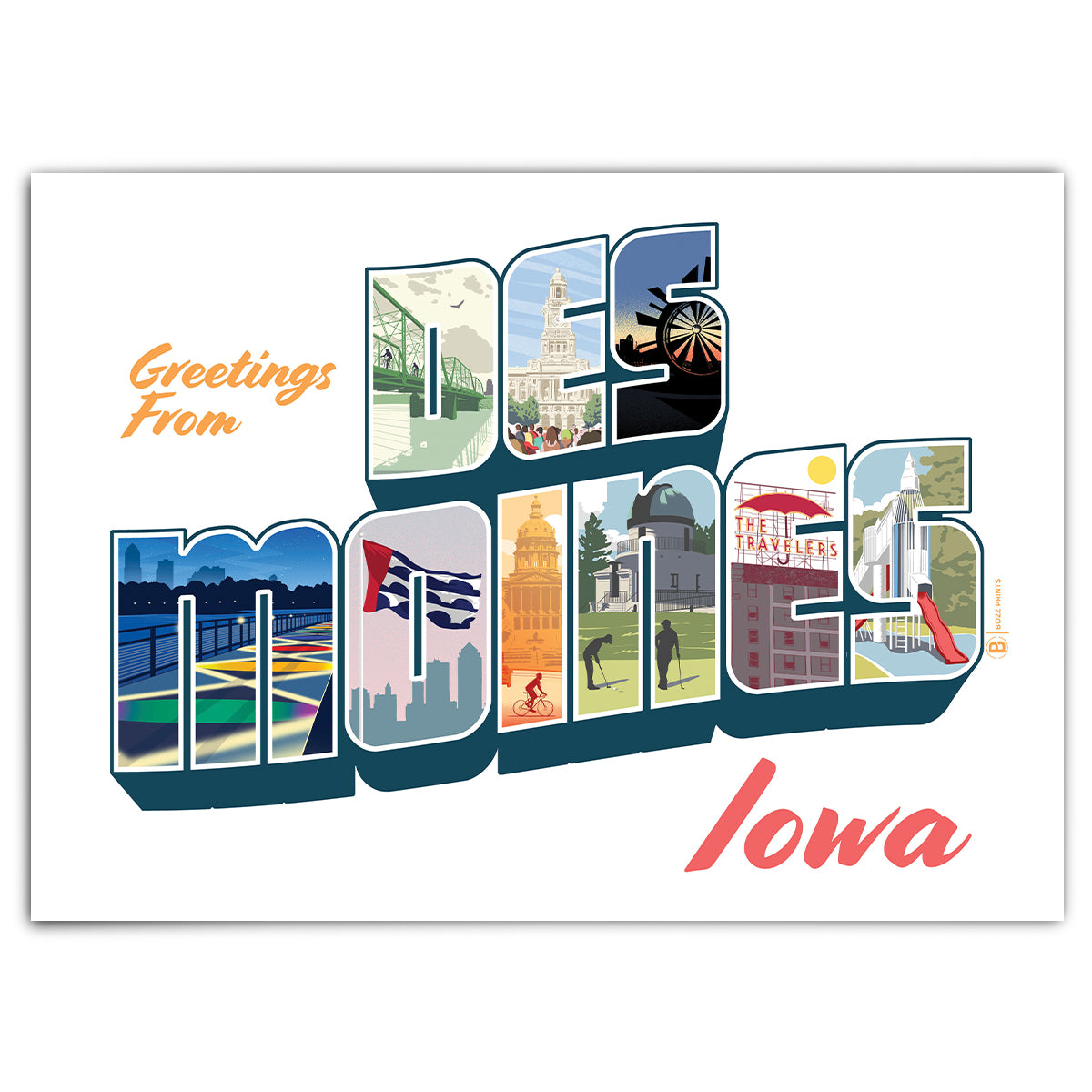 Greetings From Des Moines Greeting Card