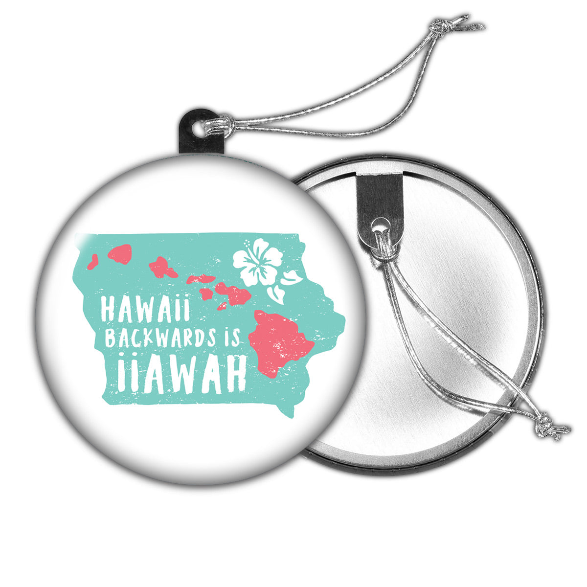 Hawaii Backwards is Iiawah Holiday Ornament