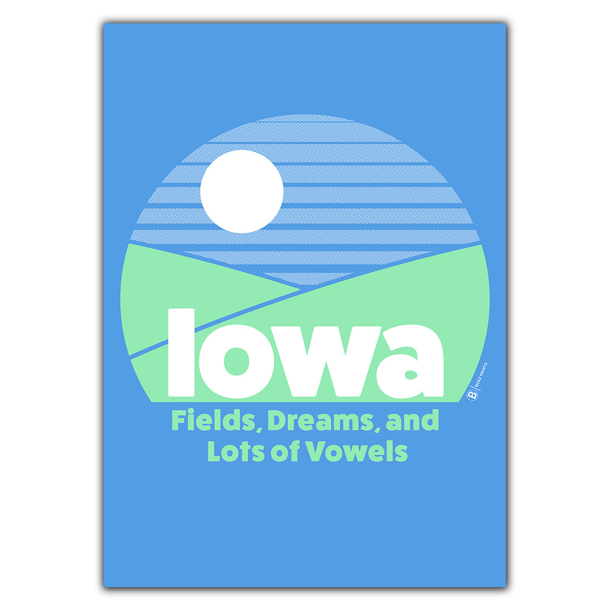 Iowa Fields, Dreams, and Lot of Vowels Greeting Card