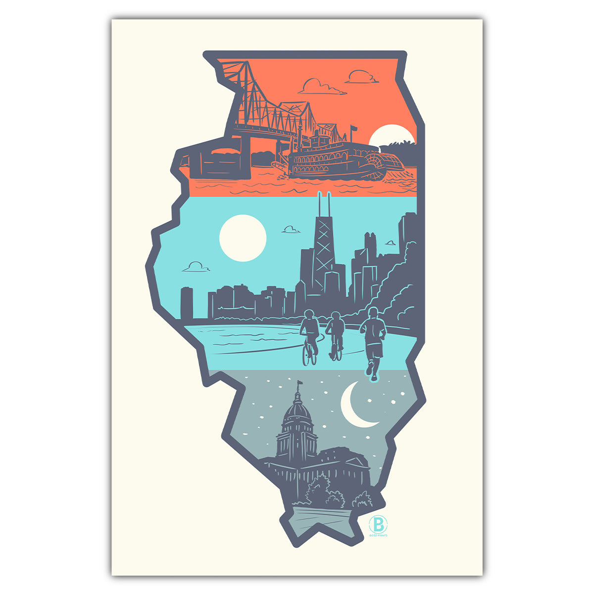 Layers of Illinois Postcard