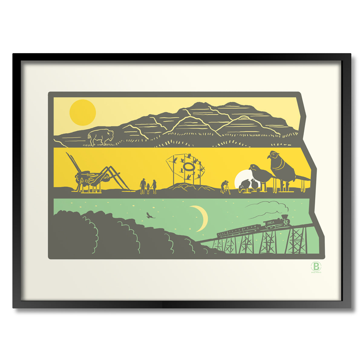 Layers of North Dakota Print