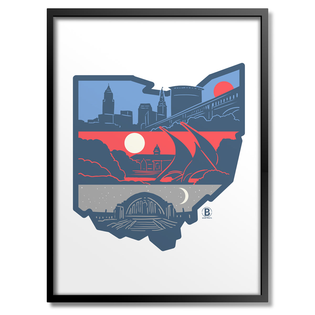 Layers of Ohio Print