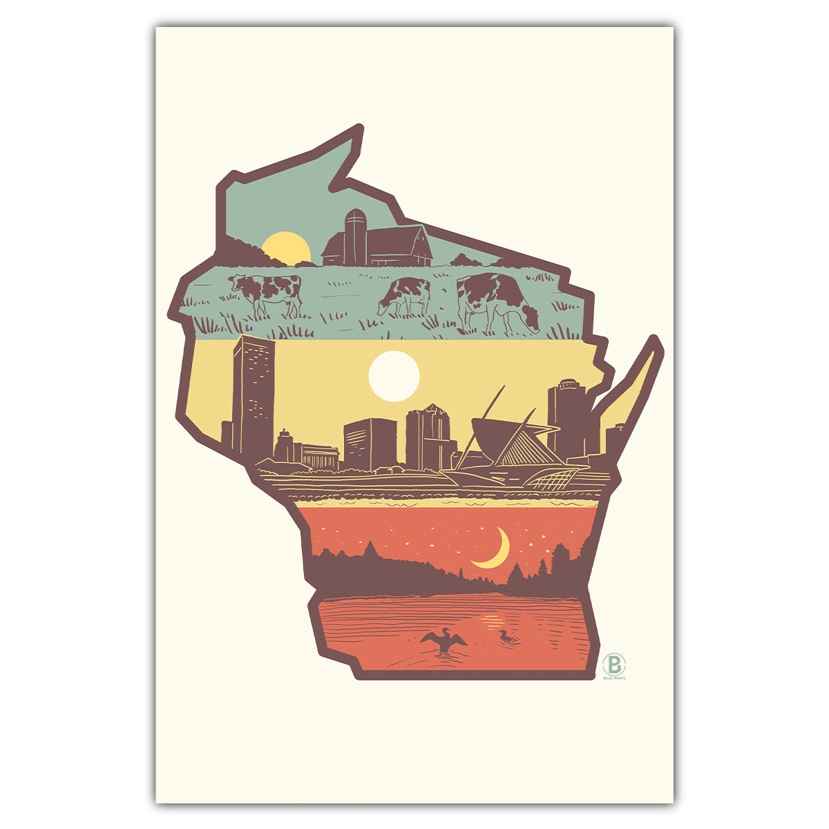 Layers of Wisconsin Postcard