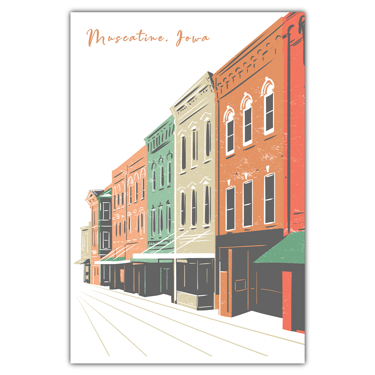 Downtown Muscatine Postcard