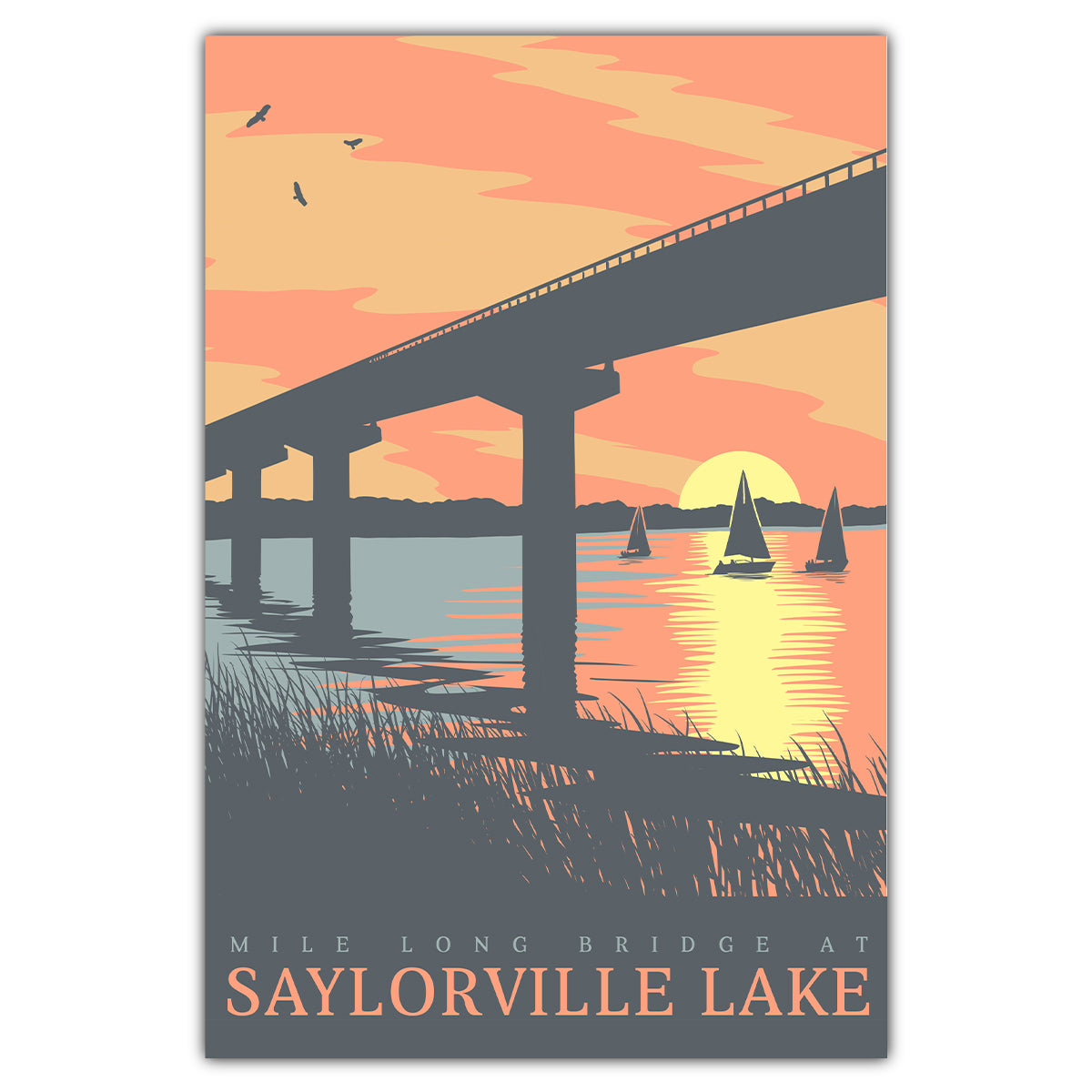 Saylorville Lake Bridge Sunset Postcard