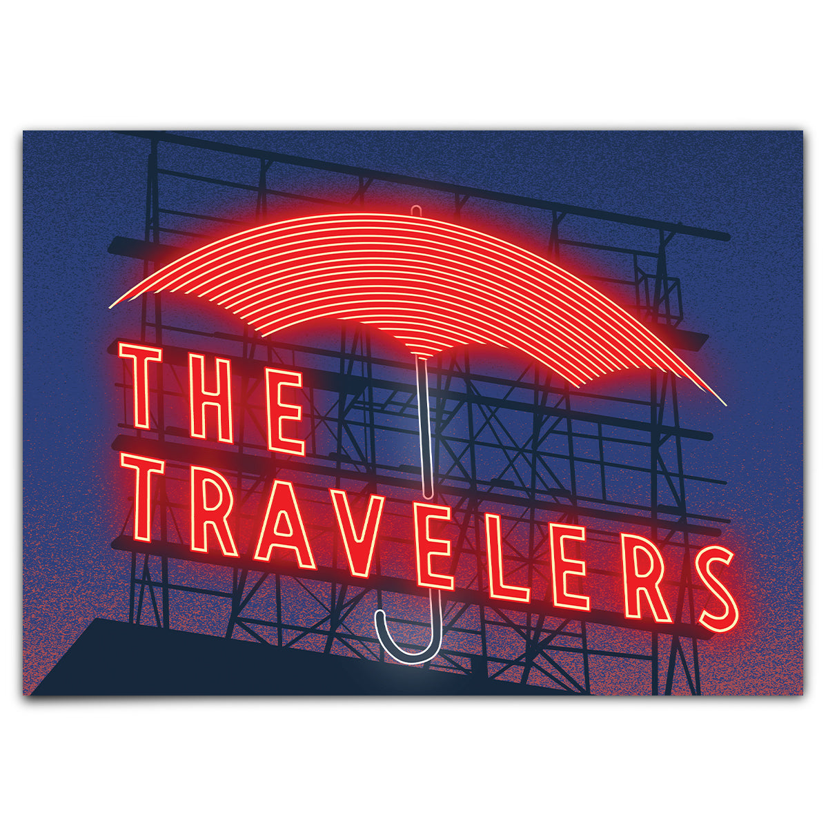 Travelers Sign at Night Greeting Card
