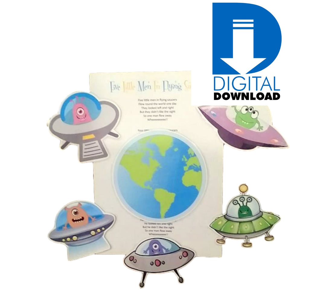 Five Little Men In Flying Saucers Make Your Own Digital Printable Learning Differently Nz