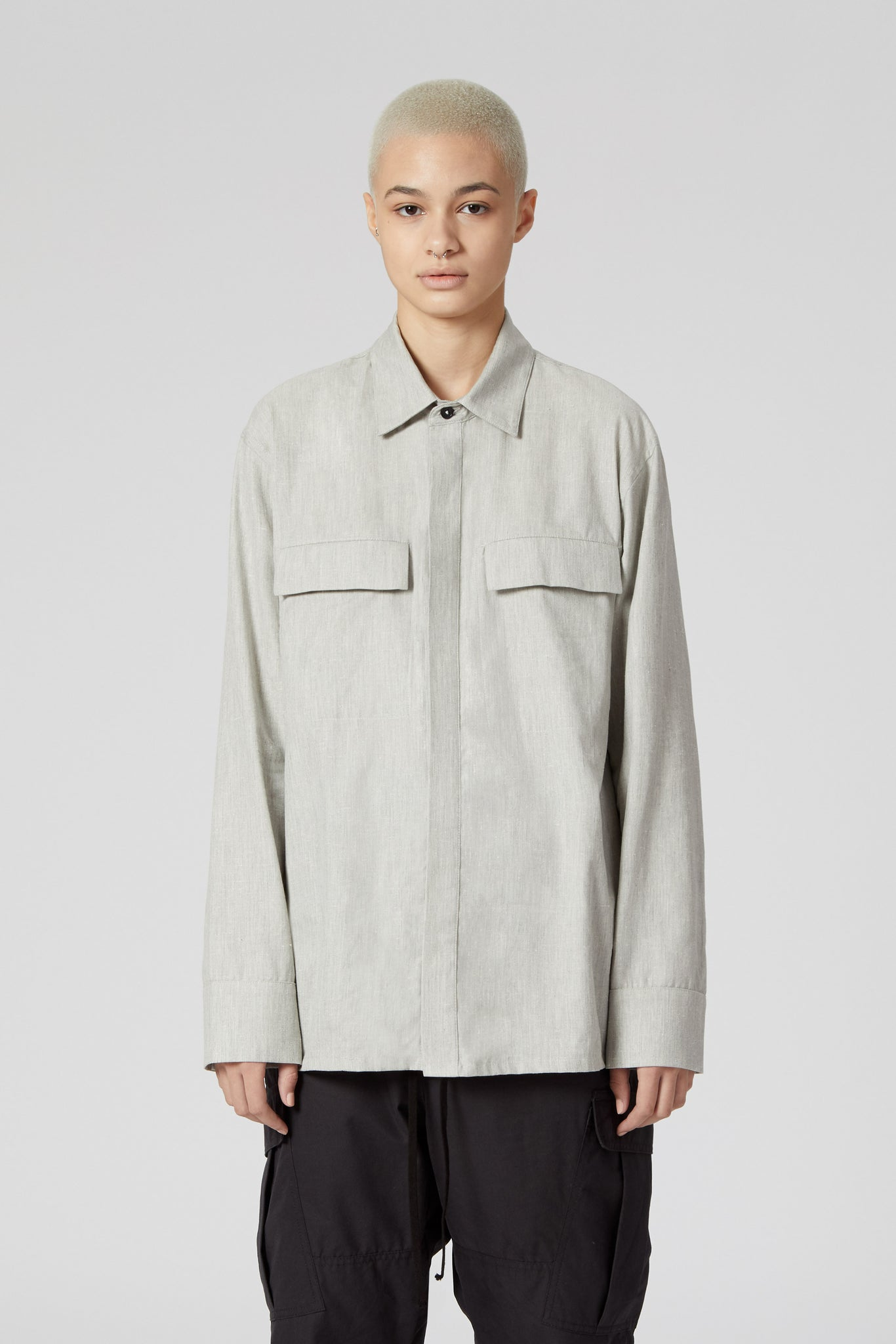 Mist Grey Button Down