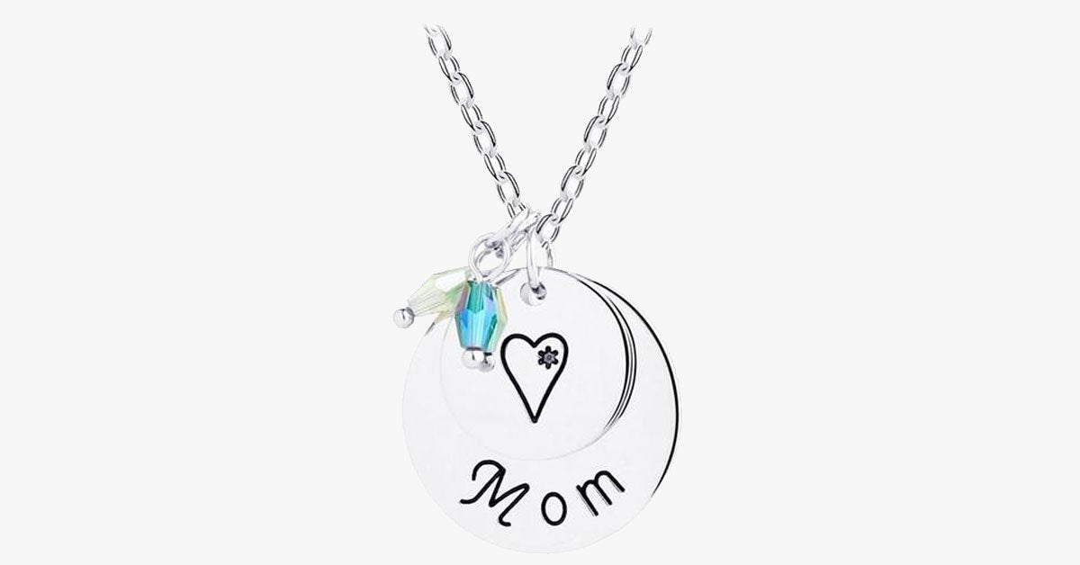 Mom Heart Necklace (Crystal)
