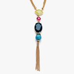 Long Multi-Colored Gem Stone Tassel Necklace