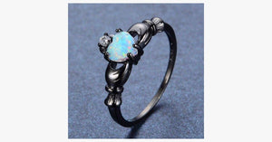 Elegant Rainbow Opal Heart Black Gold Filled Solitaire Ring
