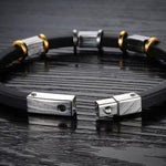 Punk Gold Stainless Steel Black Genuine Silicone Men's Bracelet