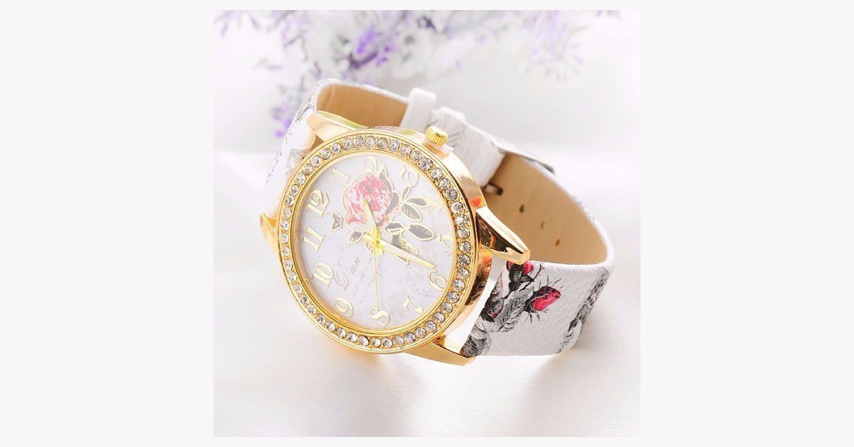 Elegant Rose Wrist Watch - Multicolor Quartz Watch with Leather Band
