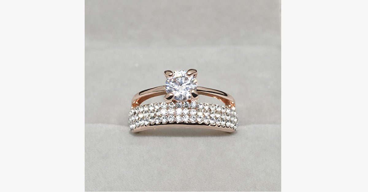 Austrian Crystal Double Band Ring