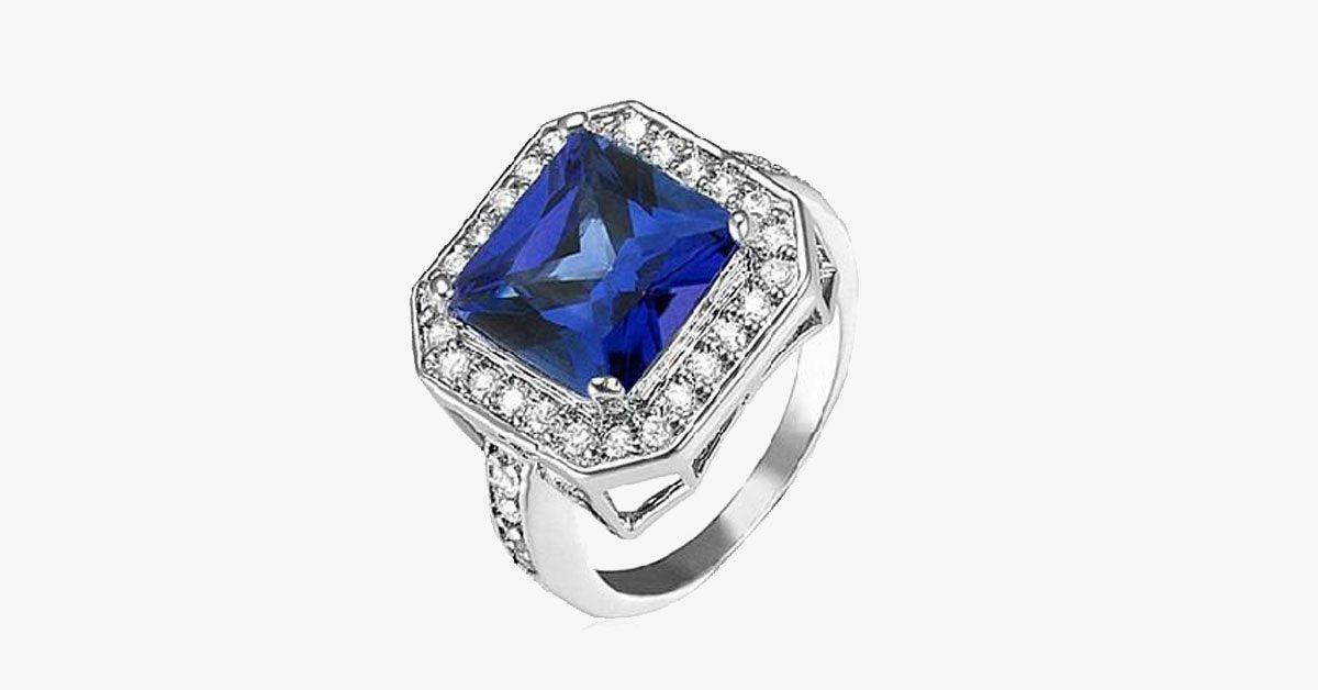 Sapphire Cocktail Ring with CZ Side Stones Rhodium Over Brass