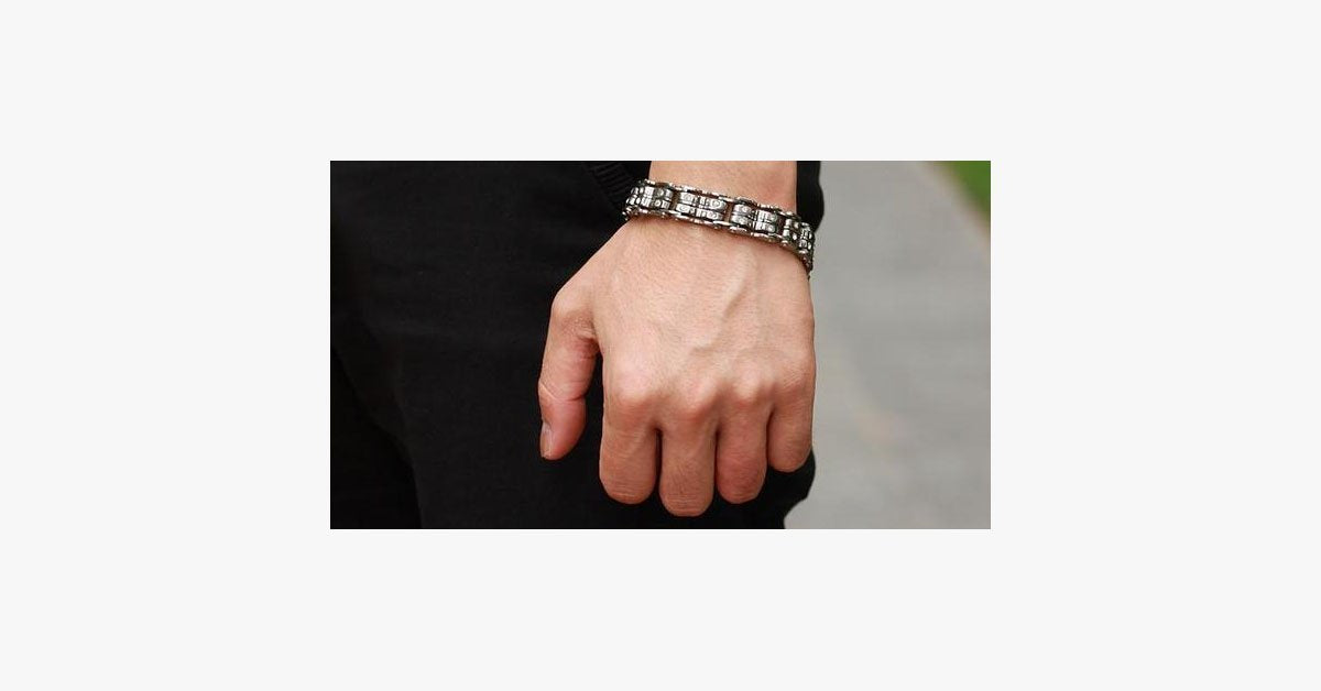 Clean CZ Diamond Stainless Steel Men's Bracelet