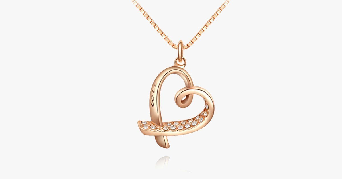 24K Rose Gold Pendant - Love Engraved Heart with Crystal