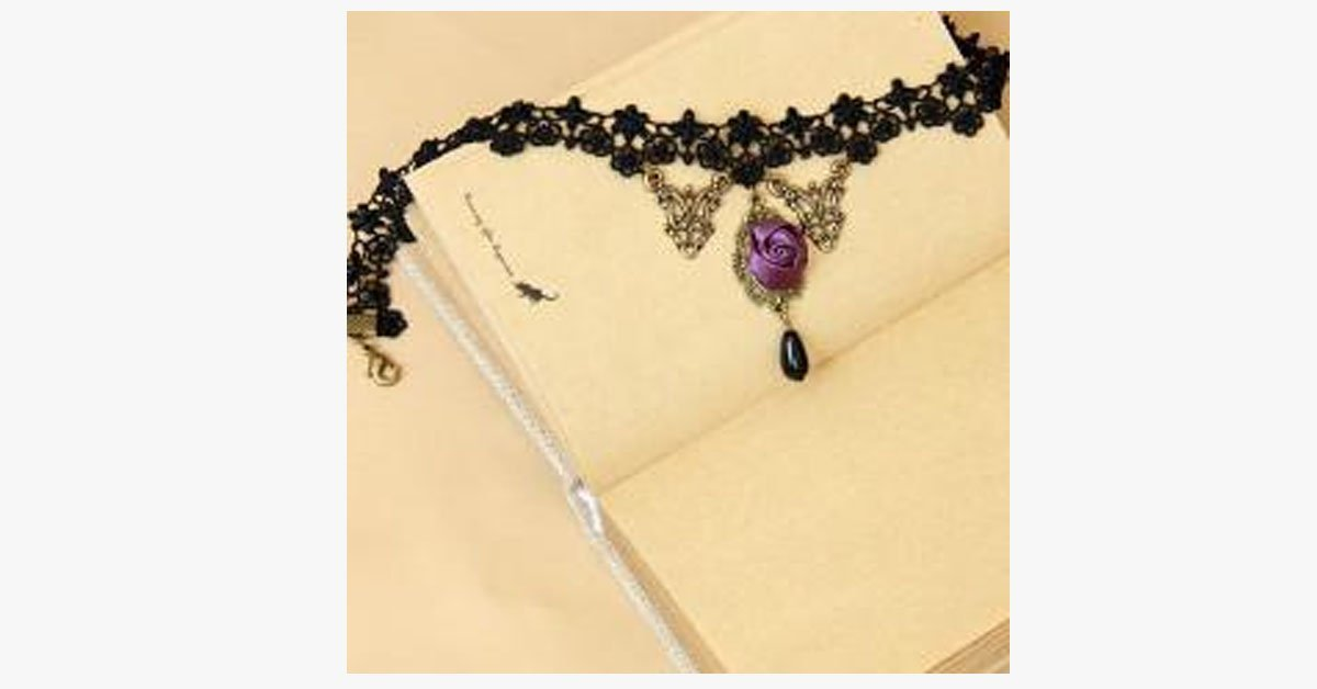 Violet Rose Black Lace Choker