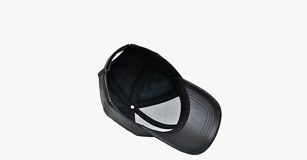Black Leather Adjustable Baseball Cap