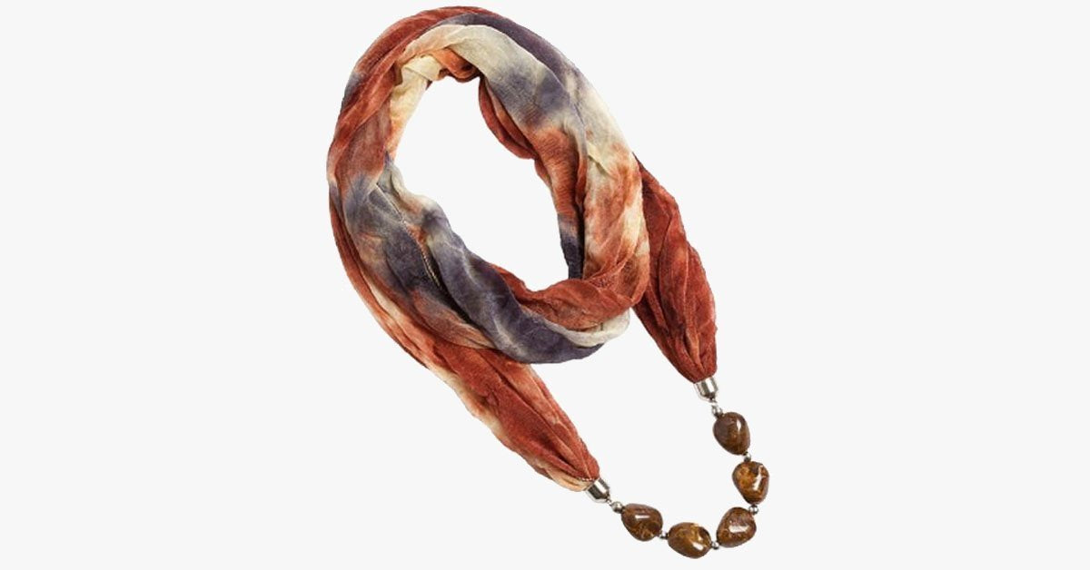 Hippie Earth-Tone Scarf Necklace