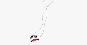USA Flag Heart Pendant