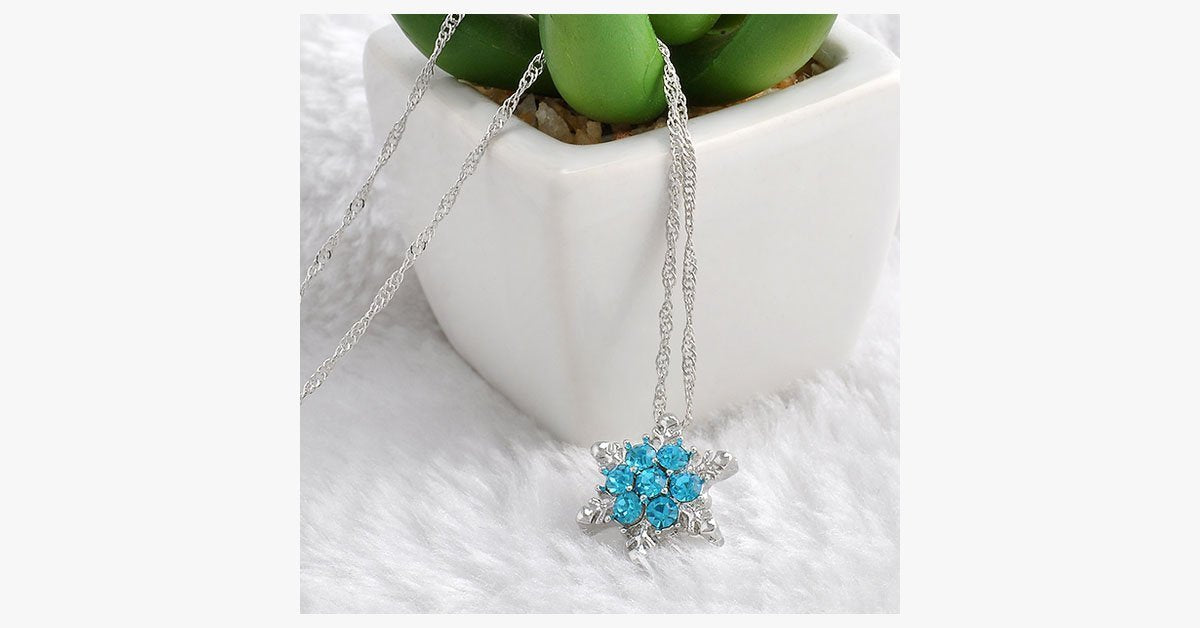 Blue Crystal Snowflake Zircon Flower Silver Necklaces & Pendant