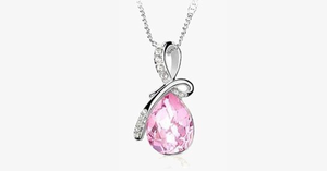 Crystal Rain Drop Pendant with Crystal Embellished Loop