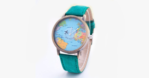 Denim World Map Watch