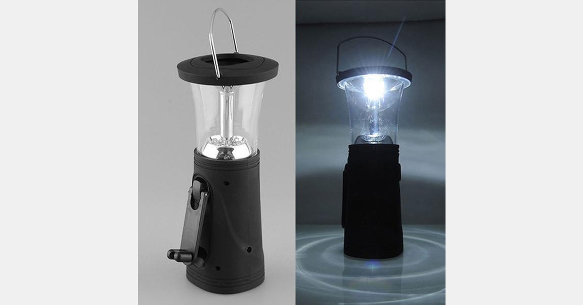 Solar Lantern Lamp 6 LED Manual Dynamo Camping