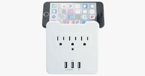 USB Wall Plate with Built-In Phone Mount