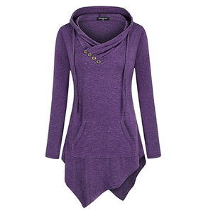 Casual Tunic Uneven Hoodie