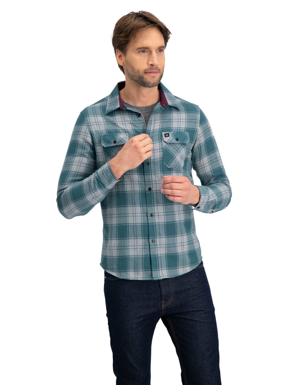 Flannel Shirt for Men - Dry Fit Long Sleeve Button Down - Moisture Wicking and Stretch Fabric