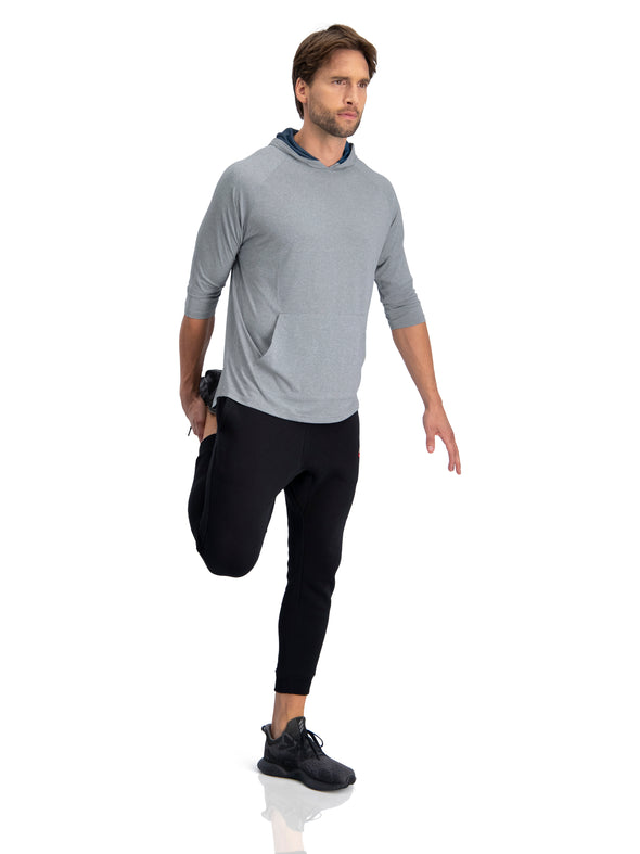 3/4 Sleeve Lightweight Hoodie Men - Dry Fit Workout Hoodies for Gym and Running