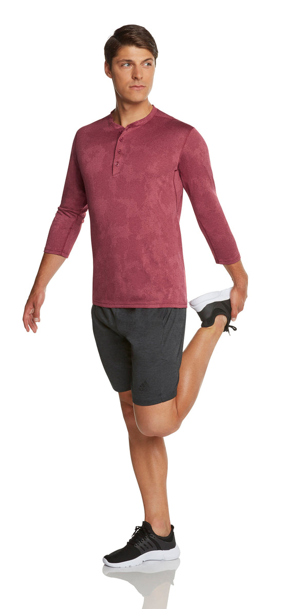 Mens Thermal 3/4 Sleeve Henley - Dry Fit Crewneck Workout Shirt w/Buttons