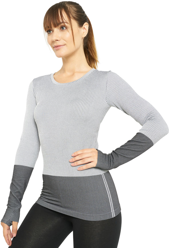 Long Sleeve Compression Workout Tops for Women - Dry Fit Running T-Shirts with Thumbholes