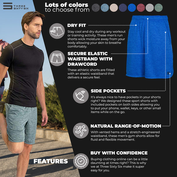 Dry FIT Gym Shorts for Men - Mens Workout Running Shorts - Moisture Wicking with Pockets