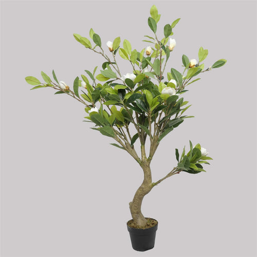 Faux White Flowering Magnolia Tree with Pot 130cm